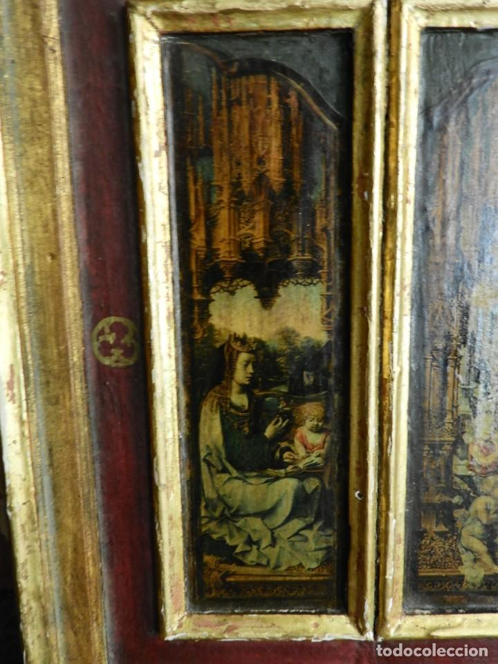 Arte: TRIPTICO RELIGIOSO DE MADERA CON IMAGENES DE LA VIRGEN Y EL NIÑO - Foto 3 - 231380465