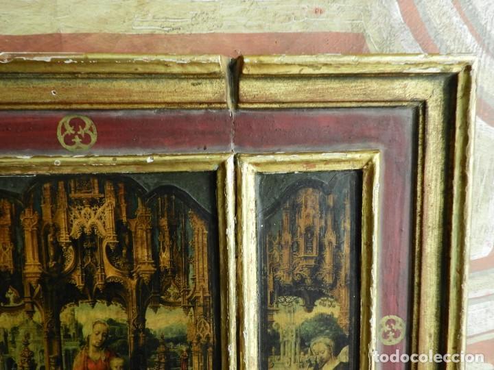Arte: TRIPTICO RELIGIOSO DE MADERA CON IMAGENES DE LA VIRGEN Y EL NIÑO - Foto 6 - 231380465