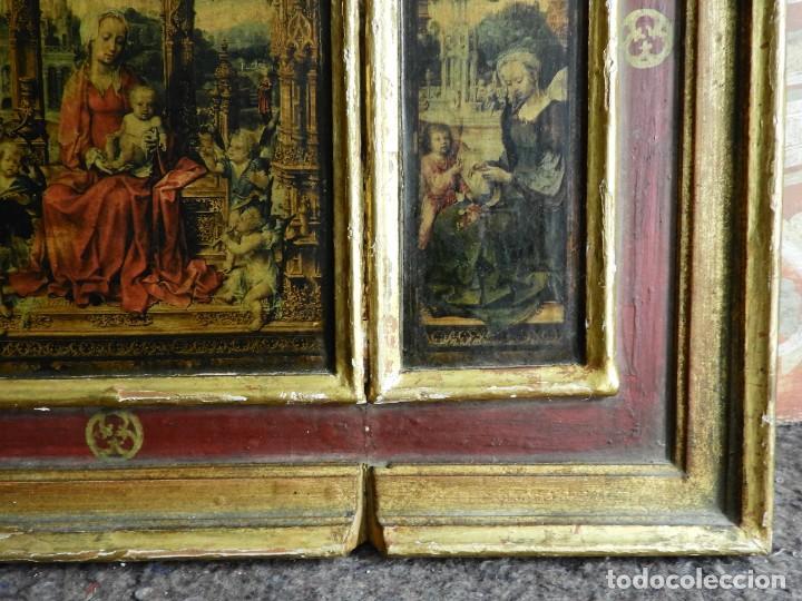 Arte: TRIPTICO RELIGIOSO DE MADERA CON IMAGENES DE LA VIRGEN Y EL NIÑO - Foto 7 - 231380465