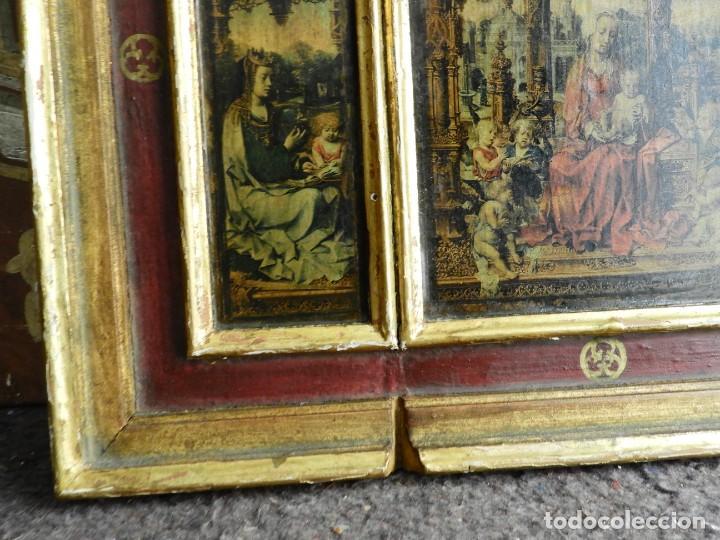 Arte: TRIPTICO RELIGIOSO DE MADERA CON IMAGENES DE LA VIRGEN Y EL NIÑO - Foto 8 - 231380465