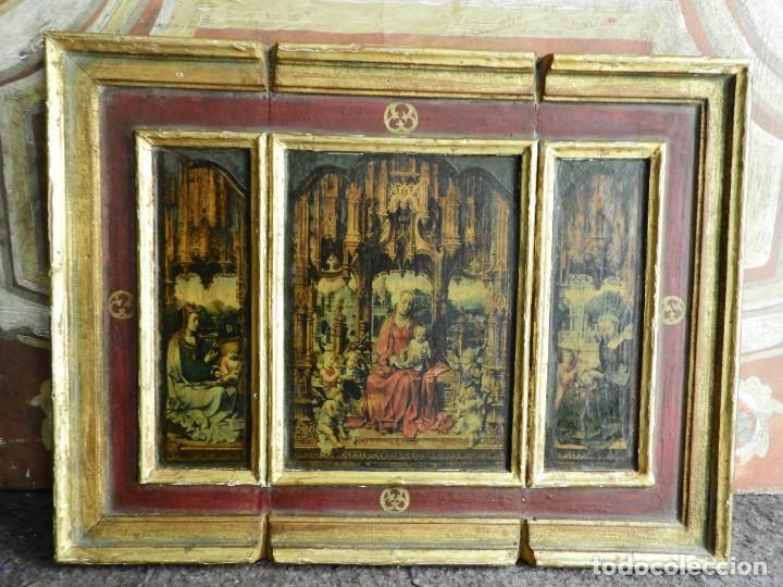 Arte: TRIPTICO RELIGIOSO DE MADERA CON IMAGENES DE LA VIRGEN Y EL NIÑO - Foto 9 - 231380465