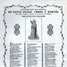 Arte: GOIGS DE SANTA FLORA (IMP. LLUIS TASSO, 1870) FACSÍMIL. Lote 231813600