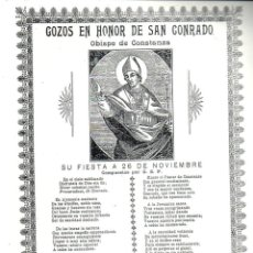 Arte: GOIGS GOZOS EN HONOR DE SAN CONRADO OBISPO DE CONSTANZA. Lote 231815600
