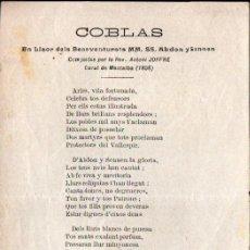 Arte: GOIGS COBLAS S. ABDÓN Y S, SENÉN COMPUESTASPOR A. JOFFRE CURAT DE MONTALBA, 1858. Lote 231832840