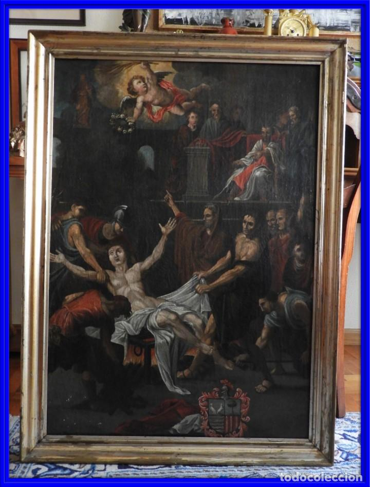 CUADRO ANTIGUO OLEO MARTIRIO DE SAN LORENZO ESCUELA ESPAÑOLA XVIII (Arte - Arte Religioso - Pintura Religiosa - Oleo)