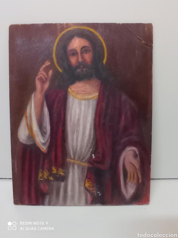Arte: Dibujo oleo sobre cartón. Jesucristo. Arte religioso, numerado - Foto 3 - 232047755