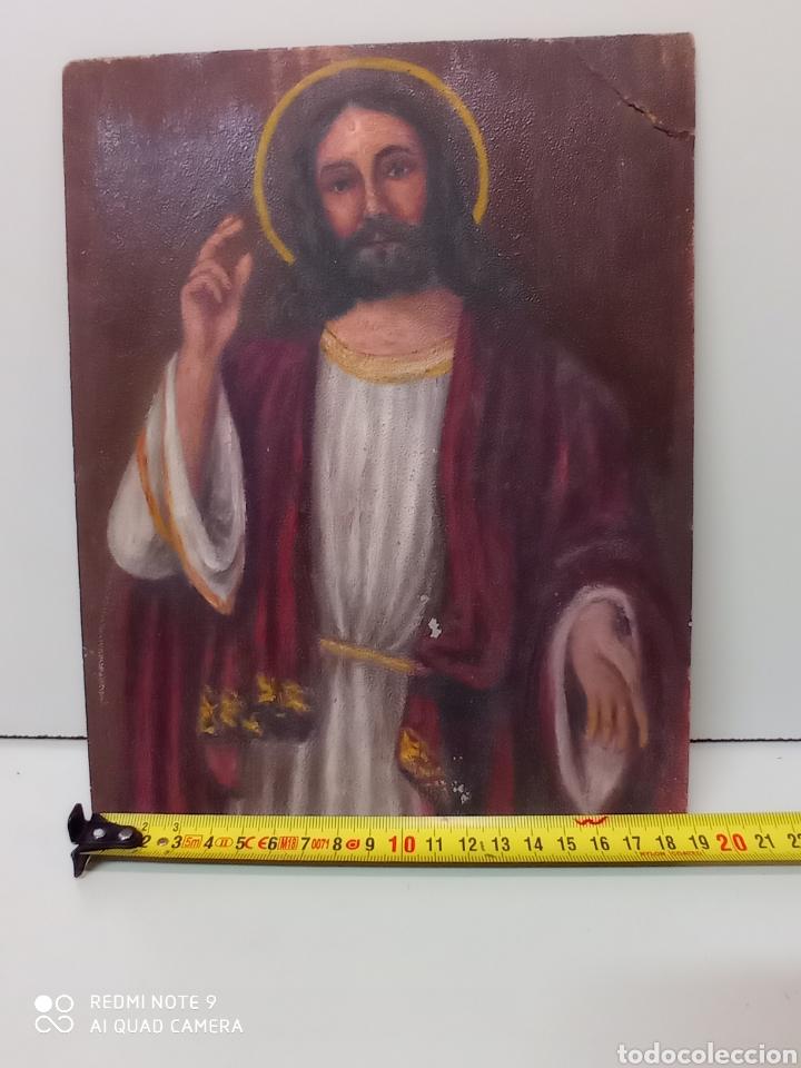 Arte: Dibujo oleo sobre cartón. Jesucristo. Arte religioso, numerado - Foto 4 - 232047755