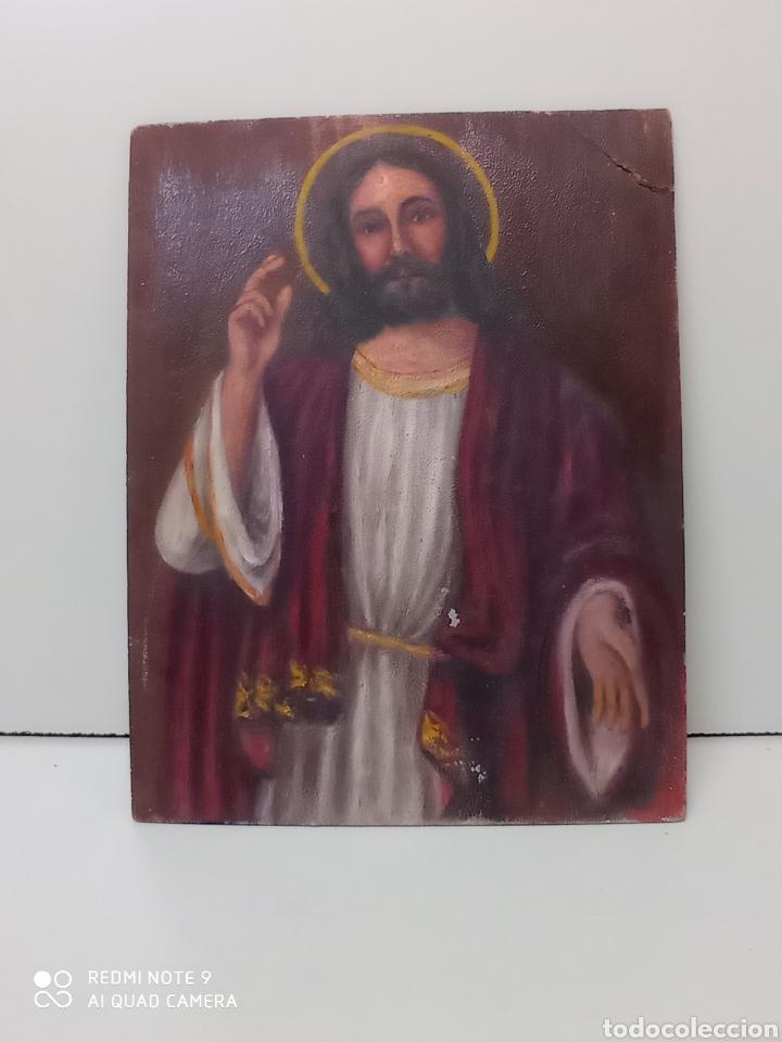 DIBUJO OLEO SOBRE CARTÓN. JESUCRISTO. ARTE RELIGIOSO, NUMERADO (Arte - Arte Religioso - Pintura Religiosa - Oleo)