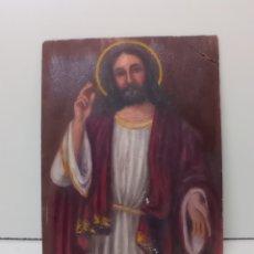 Arte: DIBUJO OLEO SOBRE CARTÓN. JESUCRISTO. ARTE RELIGIOSO, NUMERADO. Lote 232047755