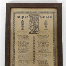Arte: GOIGS DE SANT ISIDRE LLAURADOR - CON MARCO DE MADERA. Lote 232250120