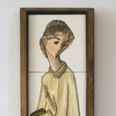 Arte: PEDRO PALENCIANO RUIZ - JESÚS ADOLESCENTE/SAN JUAN?.RETABLO CERÁMICO.FIRMADO.. Lote 232512360