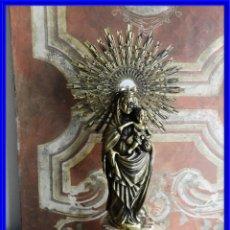 Arte: IMPORTANTE VIRGEN DEL PILAR SOBRE COLUMNA DE MARMOL.. Lote 232665100