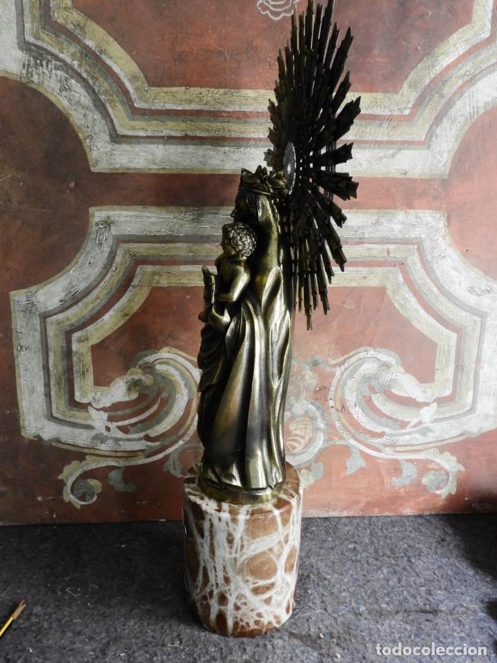Arte: IMPORTANTE VIRGEN DEL PILAR SOBRE COLUMNA DE MARMOL. - Foto 7 - 232665100