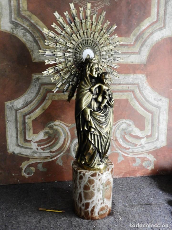 Arte: IMPORTANTE VIRGEN DEL PILAR SOBRE COLUMNA DE MARMOL. - Foto 8 - 232665100