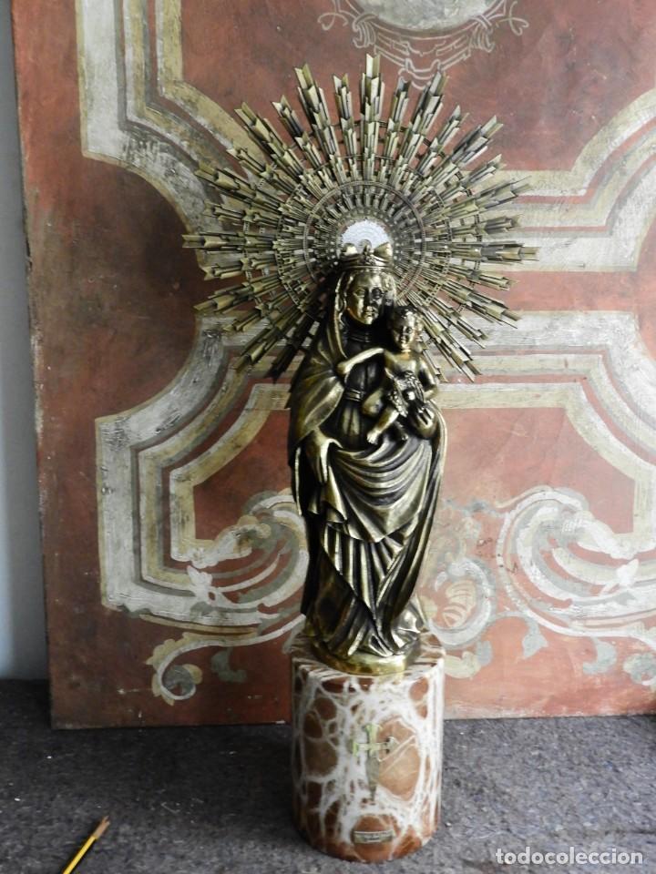 Arte: IMPORTANTE VIRGEN DEL PILAR SOBRE COLUMNA DE MARMOL. - Foto 10 - 232665100