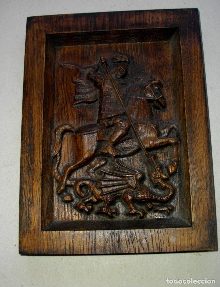 Arte: retablo en madera san jorge a caballo ( 23 x 17 ctms ) madera patinada - Foto 3 - 232955540