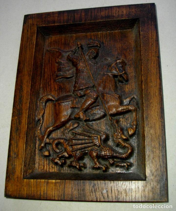 Arte: retablo en madera san jorge a caballo ( 23 x 17 ctms ) madera patinada - Foto 4 - 232955540