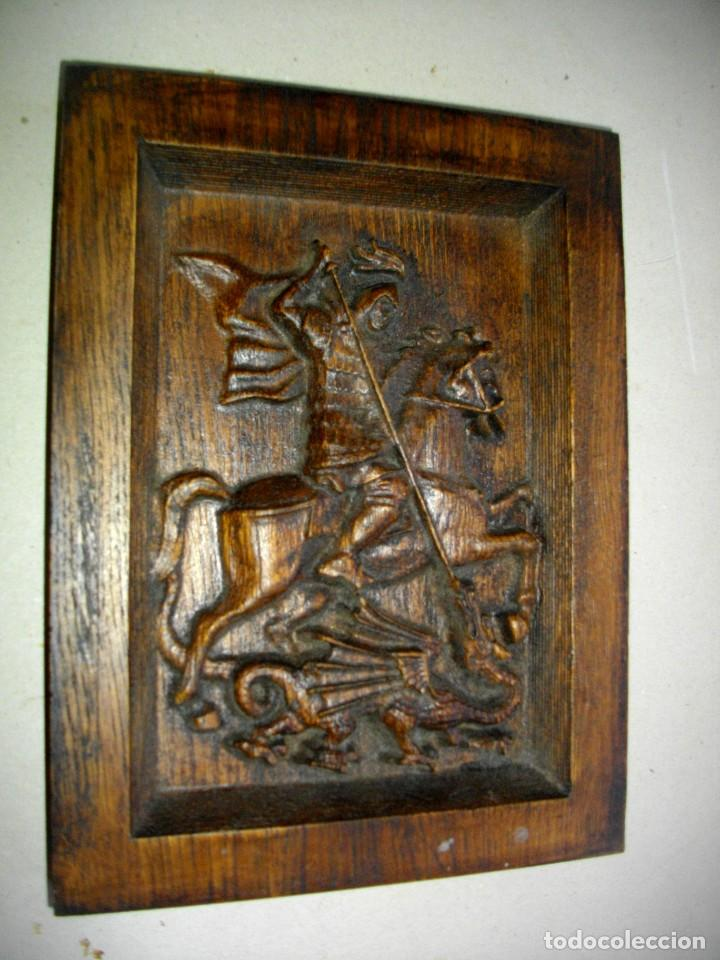 Arte: retablo en madera san jorge a caballo ( 23 x 17 ctms ) madera patinada - Foto 6 - 232955540