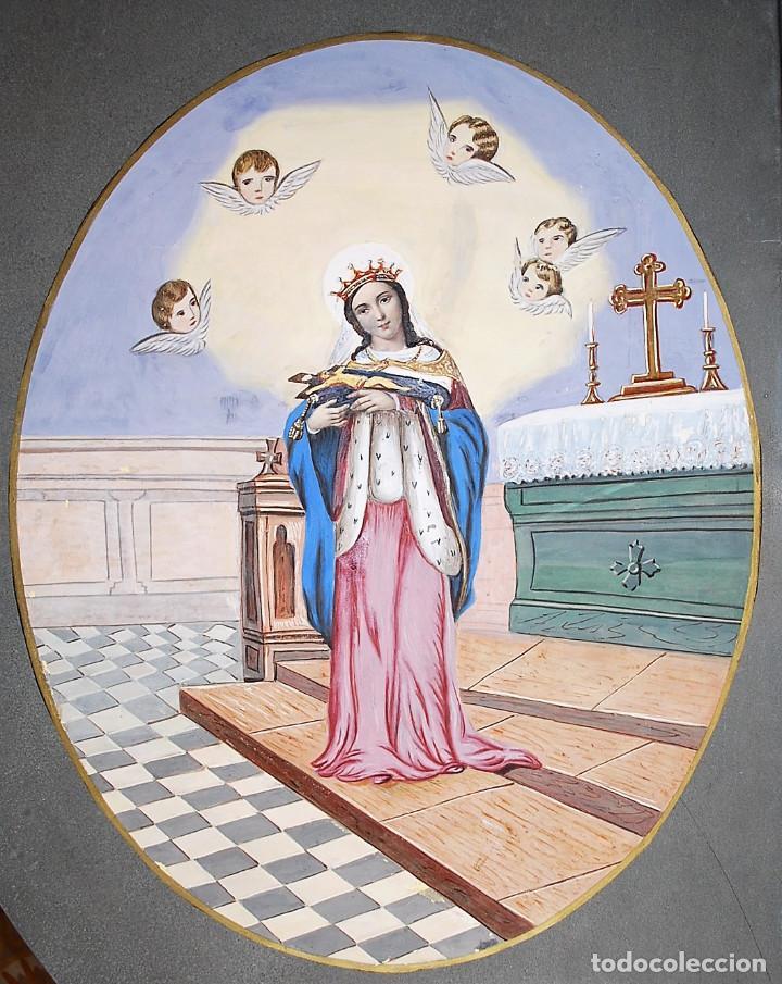 SANTA ISABEL DE PORTUGAL. (Arte - Arte Religioso - Pintura Religiosa - Acuarela)