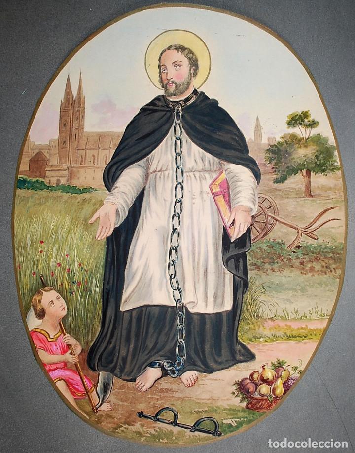SAN LEONARDO DE NOBLAC, PATRÓN DE LOS PRISIONEROS Y LAS PARTURIENTAS. (Arte - Arte Religioso - Pintura Religiosa - Acuarela)