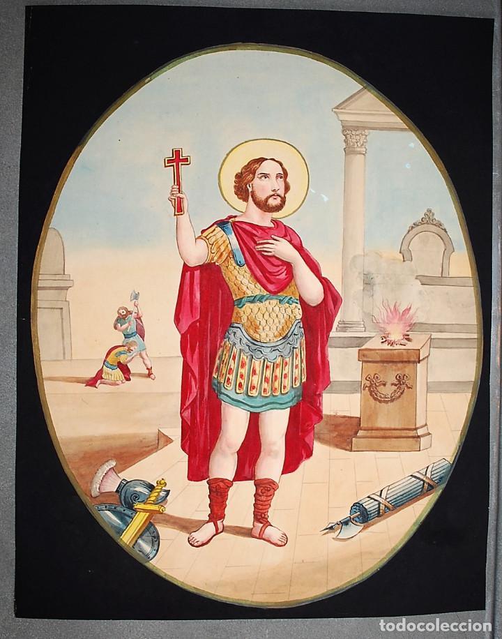 SAN EXPÉDITO. (Arte - Arte Religioso - Pintura Religiosa - Acuarela)