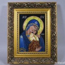 Arte: ENMARCADA ICONO MADRE DE DIOS CON NIÑO, , 30,5 X 24,5CM FIRMADO. Lote 233855090