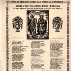 Arte: GOIGS A LLAOR DELS SANTS DONAT Y LLIBERATA (JUTGLAR, 1936) PAPER DE FIL. Lote 233902965