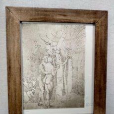 Arte: ADAN Y EVA DE ALBRECHT DURERO, MEISTER ALBERTINA, PLANCHA Nº 410, MONTAJE CUADRO. Lote 233974480