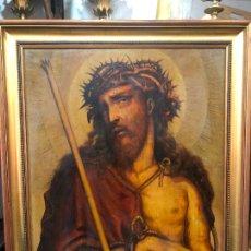 Arte: OLEO SOBRE TABLA SIGLO XVII ESPECTACULAR CRISTO ECCE HOMO - MEDIDA MARCO 92X73 CM. Lote 234044850