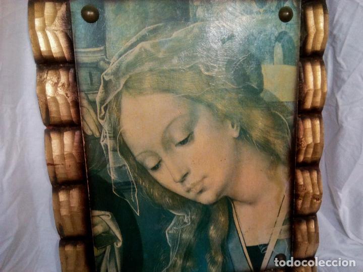 Arte: Cuadro religioso. Preciosa reproducción Virgen Botticelli. Portapaz años 60. 59 cm x49 cm - Foto 2 - 234396770