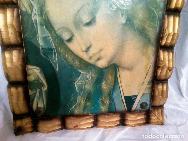 Arte: Cuadro religioso. Preciosa reproducción Virgen Botticelli. Portapaz años 60. 59 cm x49 cm - Foto 3 - 234396770