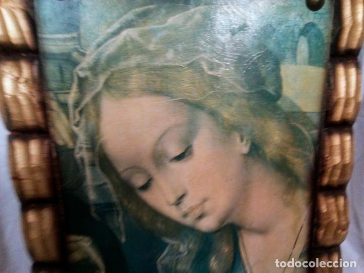 Arte: Cuadro religioso. Preciosa reproducción Virgen Botticelli. Portapaz años 60. 59 cm x49 cm - Foto 4 - 234396770