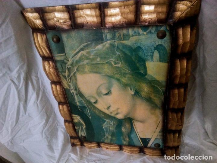 Arte: Cuadro religioso. Preciosa reproducción Virgen Botticelli. Portapaz años 60. 59 cm x49 cm - Foto 5 - 234396770