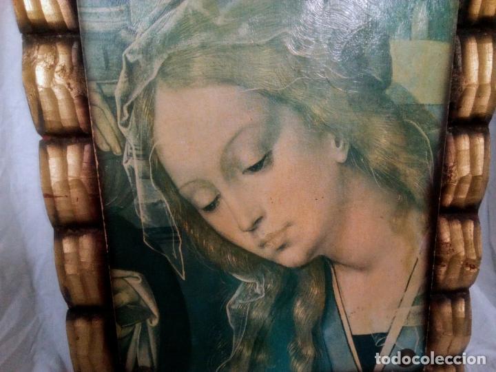 Arte: Cuadro religioso. Preciosa reproducción Virgen Botticelli. Portapaz años 60. 59 cm x49 cm - Foto 6 - 234396770