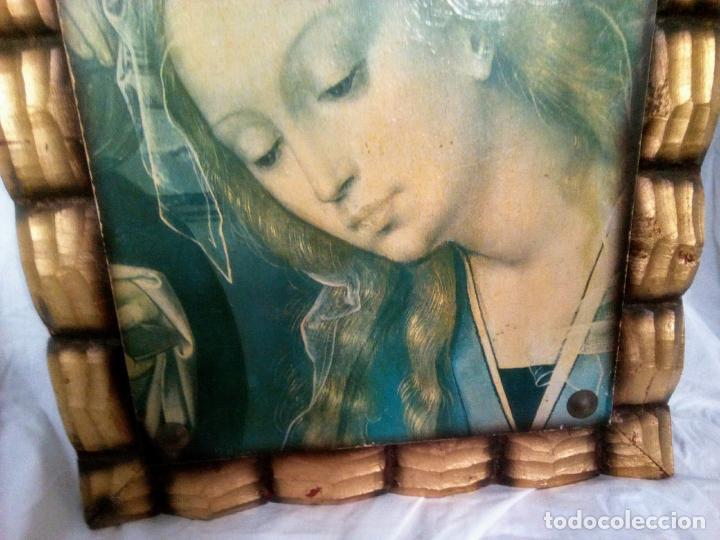 Arte: Cuadro religioso. Preciosa reproducción Virgen Botticelli. Portapaz años 60. 59 cm x49 cm - Foto 7 - 234396770
