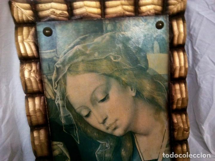Arte: Cuadro religioso. Preciosa reproducción Virgen Botticelli. Portapaz años 60. 59 cm x49 cm - Foto 8 - 234396770