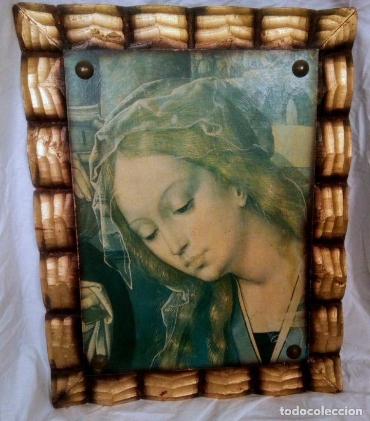 Arte: Cuadro religioso. Preciosa reproducción Virgen Botticelli. Portapaz años 60. 59 cm x49 cm - Foto 9 - 234396770