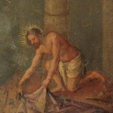 Arte: LA FLAGELACIÓN. JESÚS RECOGIENDO EL MANTO. ÓLEO SOBRE COBRE. ESPAÑA. SIGLO XVIII. Lote 234448055
