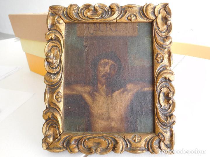 Arte: Pintura al oleo original del siglo XVIII representando Jesucristo crucificado - Foto 13 - 234476240