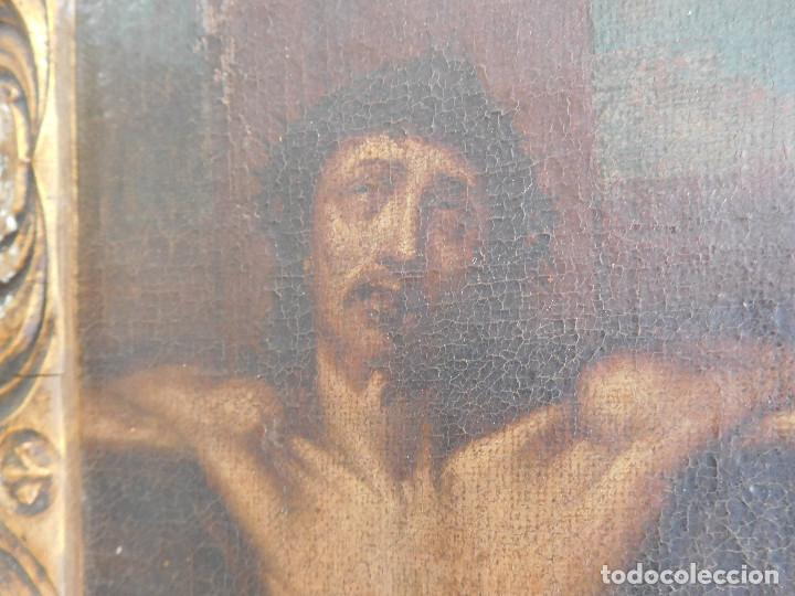 Arte: Pintura al oleo original del siglo XVIII representando Jesucristo crucificado - Foto 2 - 234476240