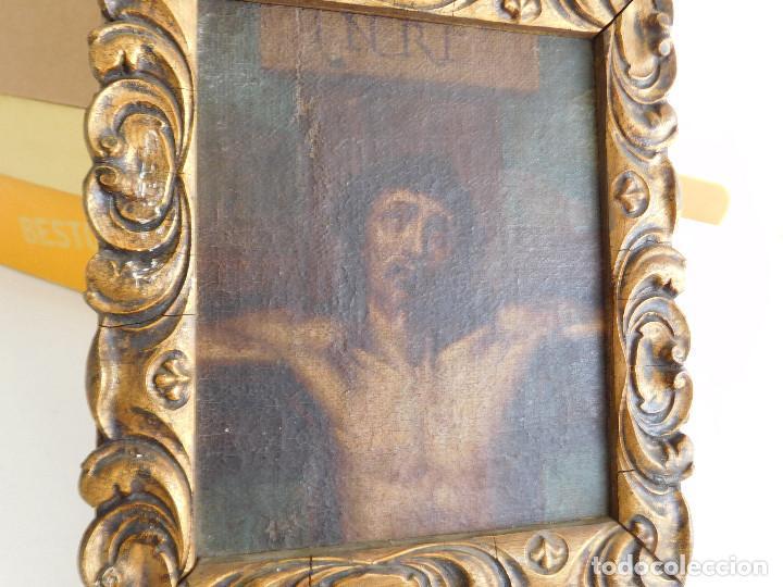 Arte: Pintura al oleo original del siglo XVIII representando Jesucristo crucificado - Foto 4 - 234476240