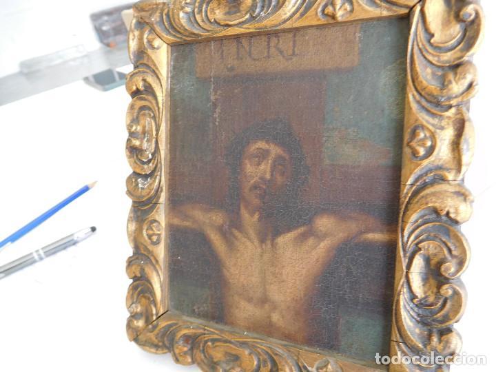 Arte: Pintura al oleo original del siglo XVIII representando Jesucristo crucificado - Foto 5 - 234476240
