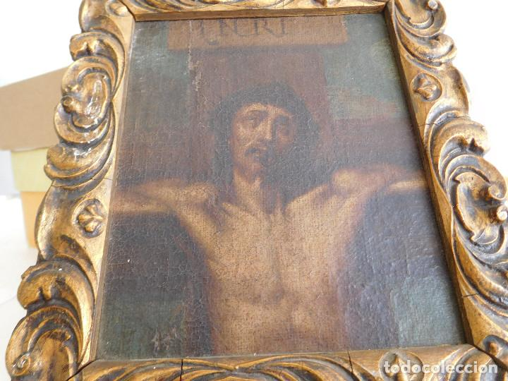PINTURA AL OLEO ORIGINAL DEL SIGLO XVIII REPRESENTANDO JESUCRISTO CRUCIFICADO (Arte - Arte Religioso - Pintura Religiosa - Oleo)