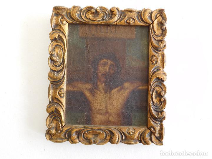 Arte: Pintura al oleo original del siglo XVIII representando Jesucristo crucificado - Foto 12 - 234476240