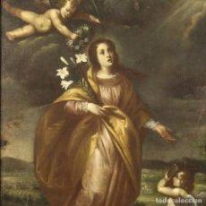 Arte: PINTURA RELIGIOSA ITALIANA ANTIGUA SANTA LIBERATA CON QUERUBINES DEL SIGLO XVII. Lote 234503840