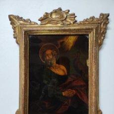 Arte: PINTURA AL ÓLEO SOBRE CRISTAL - SAN PEDRO - ESCUELA ESPAÑOLA - MARCO DE ÉPOCA - S. XVIII. Lote 234615365