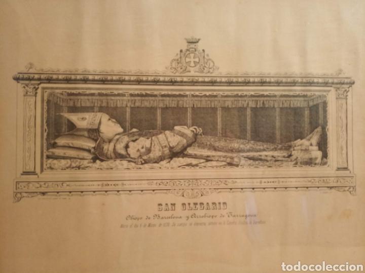 MARCO DE MADERA CON LITOGRAFÍA DE SAN OLEGARIO (SIGLO XIX) (Arte - Arte Religioso - Litografías)