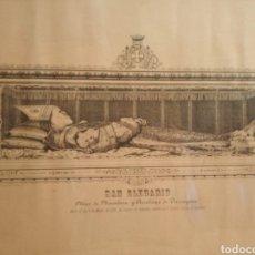 Arte: MARCO DE MADERA CON LITOGRAFÍA DE SAN OLEGARIO (SIGLO XIX). Lote 234662080