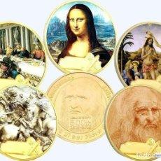 Arte: GRAN COLECCION DE 5 MONEDAS AL 500 ANIVERSARIO DE LEONARDO DA VINCI EL RENACIMIENTO. Lote 234718125