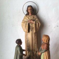 Art: GRAN Y ANTIGUA TALLA EN MADERA SIGLO XIX. VIRGEN DE LA SALETA CON LOS PASTORES NIÑOS , FIRMADA. Lote 234722620